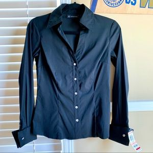 NWT INC Black Diamond Detail Button Up Shirt